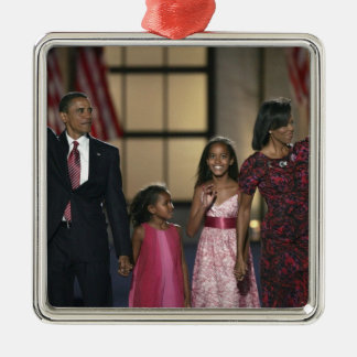 Barak Obama family wave at the last night of Metal Ornament