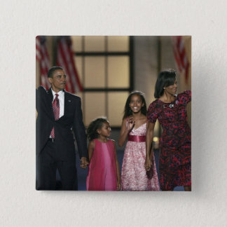 Barak Obama family wave at the last night of Pinback Button