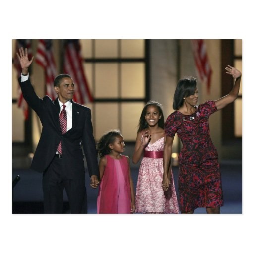 Barak Obama family wave at the last night of Post Card