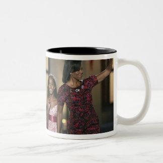 Barak Obama family wave at the last night of Two-Tone Coffee Mug