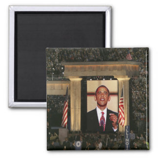 Barak Obama speaks at the last night of the 2 Inch Square Magnet