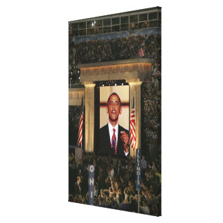 Barak Obama speaks at the last night of the Canvas Print