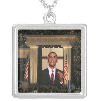 Barak Obama speaks at the last night of the Silver Plated Necklace