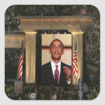 Barak Obama speaks at the last night of the Square Sticker