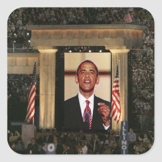 Barak Obama speaks at the last night of the Square Stickers
