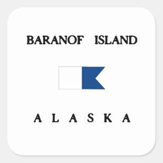 Baranof Island Alaska Alpha Dive Flag Square Sticker