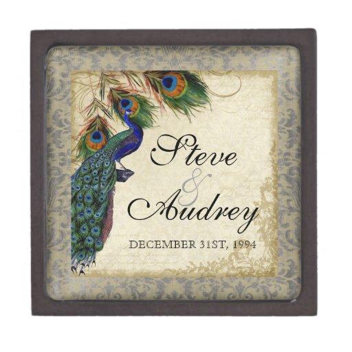 Baratija formal del anillo de bodas del pavo real  caja de recuerdo de calidad