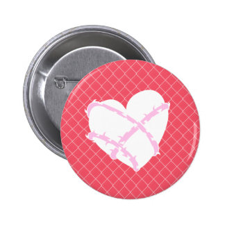 Barb Wire Heart on Chain Link Fence Pinback Button