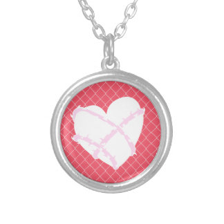 Barb Wire Heart on Chain Link Fence Custom Necklace