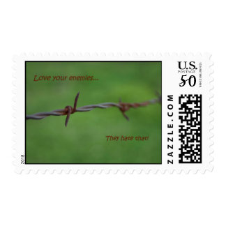 Barb wire love your enemies postage stamps