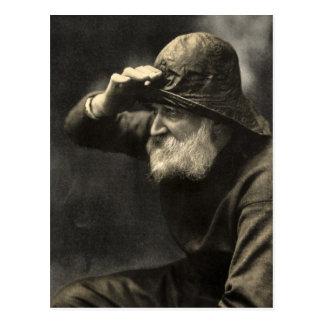 Barba antigua náutica del pescador inglés del vint postal