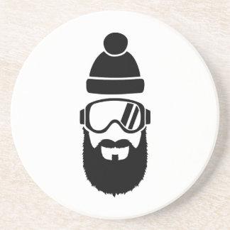 Barba llena de las gafas del esquí posavasos personalizados