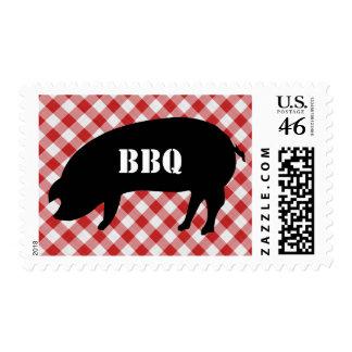 Barbacoa a cuadros de la tela del cerdo Silo rojo
