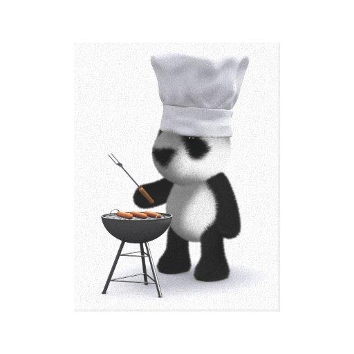 barbacoa de la panda del bebé 3d impresión en lona estirada