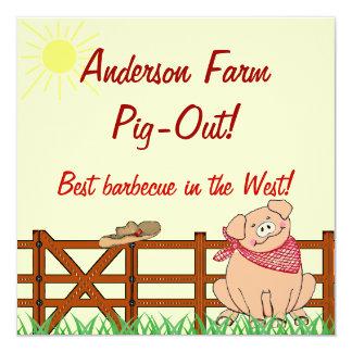 """Barbacoa del cerdo de la granja del país invitación 5.25"""" x 5.25"""""""