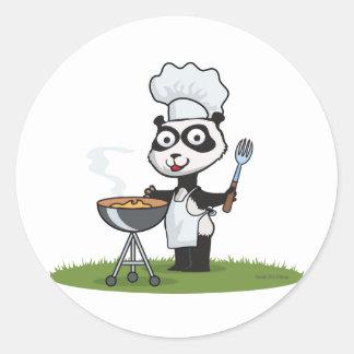 Barbacoa del oso de panda etiquetas redondas