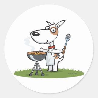 Barbacoa del perro etiquetas redondas