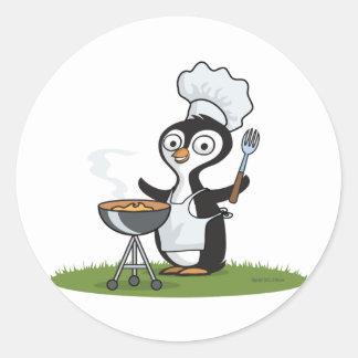 Barbacoa del pingüino etiquetas redondas