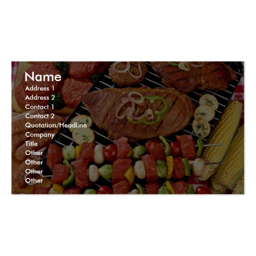 Barbacoa deliciosa con la carne cruda y cocinada o plantillas de tarjeta de negocio