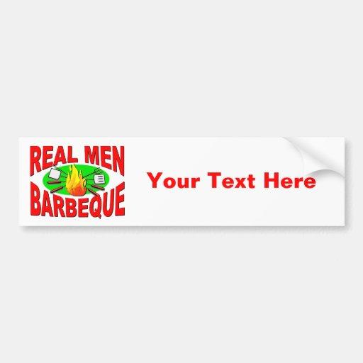 Barbacoa real de los hombres. Diseño divertido par Pegatina De Parachoque