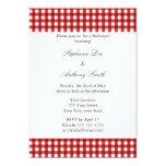 Barbacoa roja y blanca del modelo de la guinga invitación 12,7 x 17,8 cm