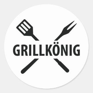 barbacue king icon classic round sticker