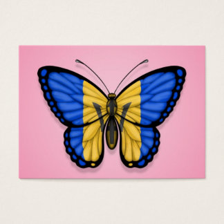 Barbados Butterfly Flag on Pink Business Card