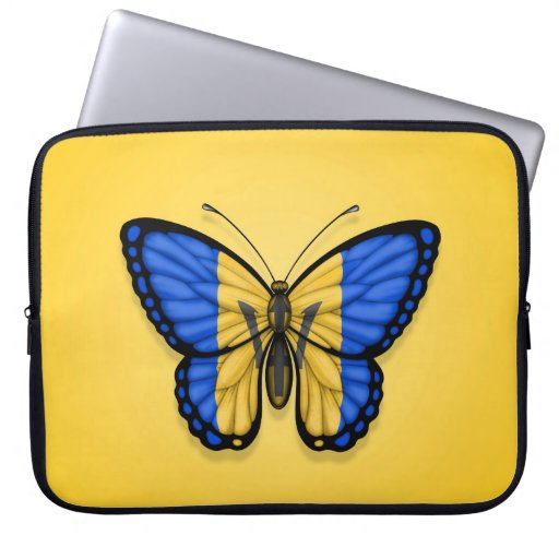 Barbados Butterfly Flag on Yellow Laptop Computer Sleeves