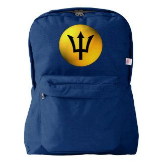 Barbados Flag Black Trident Sphere Backpack
