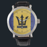 "Barbados Flag Custom Name Watch<br><div class=""desc"">Celebrate your pride in being from the beautiful island country of Barbados with this custom name watch.</div>"