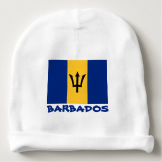 Barbados Flag Customizable Blue Text Baby Beanie