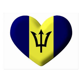 Barbados Flag heart Postcard