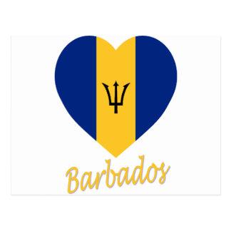 Barbados Flag Heart Postcards