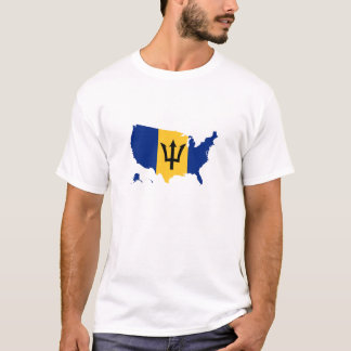 Barbados flag in USA united states T-Shirt
