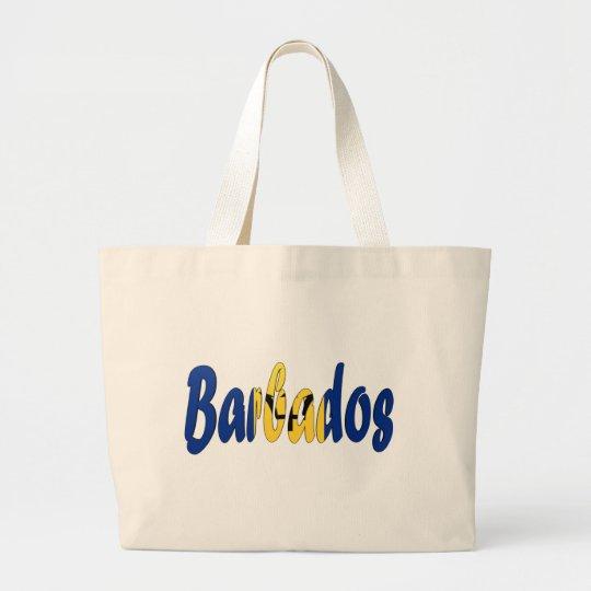Barbados Flag Large Tote Bag