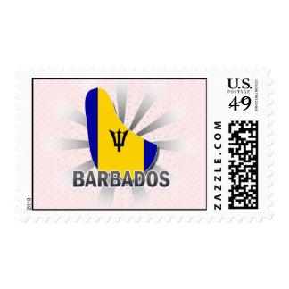 Barbados Flag Map 2.0 Postage