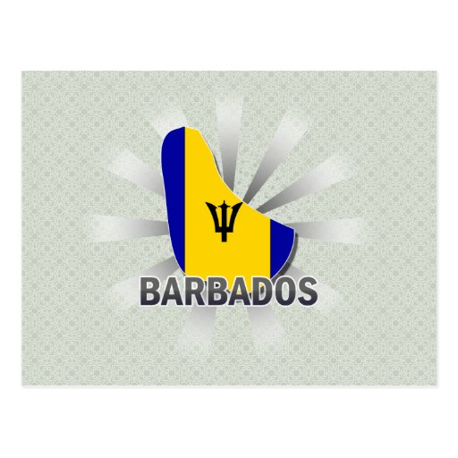 Barbados Flag Map 2.0 Postcard