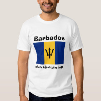 Barbados Flag + Map + Text T-Shirt