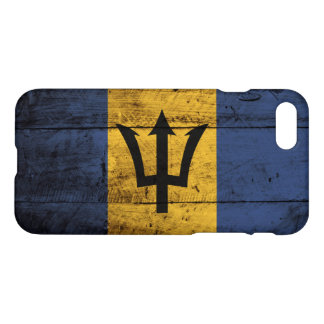 Barbados Flag on Old Wood Grain iPhone 8/7 Case