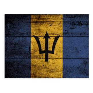 Barbados Flag on Old Wood Grain Postcard