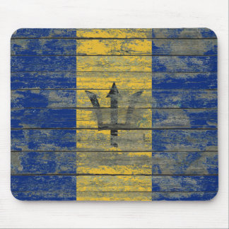 Barbados Flag on Rough Wood Boards Effect Mouse Pad