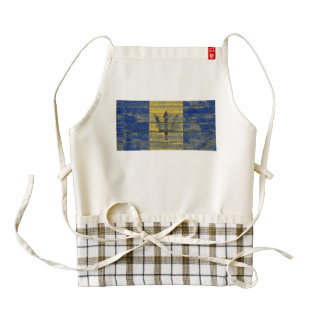 Barbados Flag on Rough Wood Boards Effect Zazzle HEART Apron