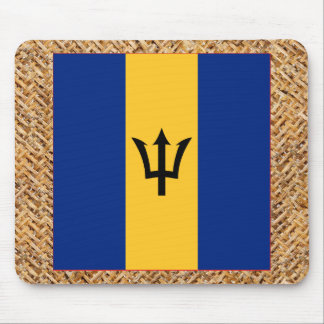 Barbados Flag on Textile themed Mouse Pad