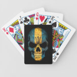 Barbados Flag Skull on Black Bicycle Playing Cards