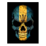 Barbados Flag Skull on Black Postcard