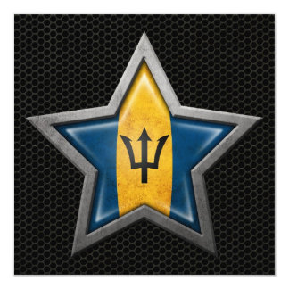 Barbados Flag Star with Steel Mesh Effect Card