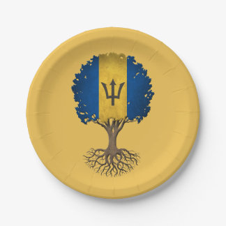 Barbados Flag Tree of Life Customizable 7 Inch Paper Plate
