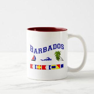 Barbados - (Maritime Flag Spelling) Two-Tone Coffee Mug