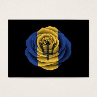 Barbados Rose Flag on Black Business Card