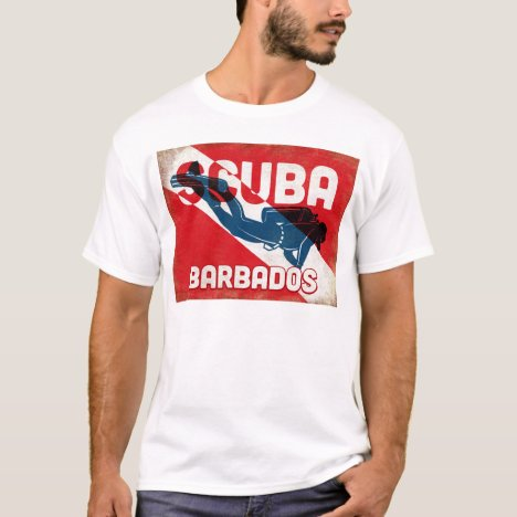 Barbados Scuba Diver - Blue Retro T-Shirt